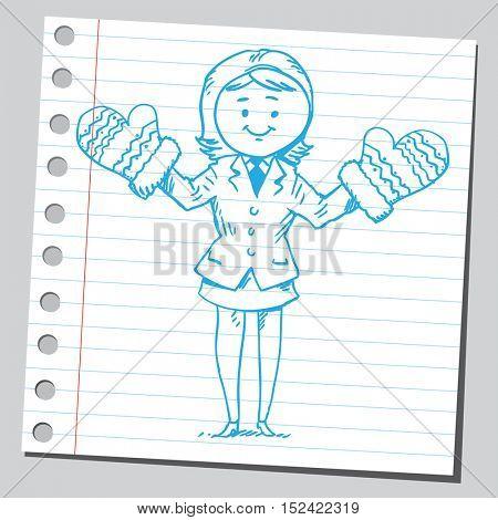 Businesswoman with big mittens