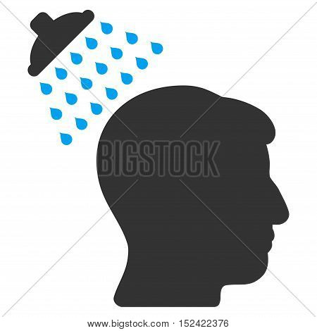 Head Shower vector pictogram. Style is flat graphic bicolor symbol, blue and gray colors, white background.