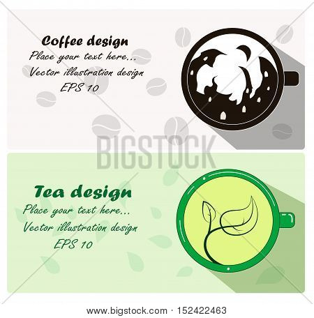 Two cute banner and business cards with cup of coffee tea. Vector