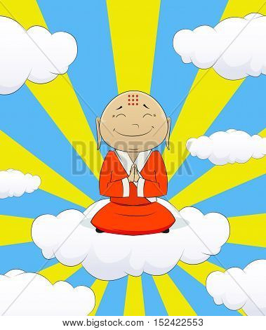 Illustration on cartoon asian monk that sit on the cloud and pray for happiness. Concept of happiness, wealth, joy and prosperity.Vector