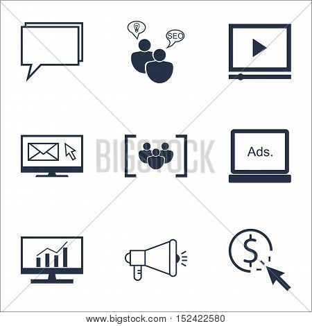 Set Of Advertising Icons On Digital Media, Video Player And Seo Brainstorm Topics. Editable Vector I