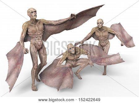 Vampires Strigoi 3D Illustration Isolated on White