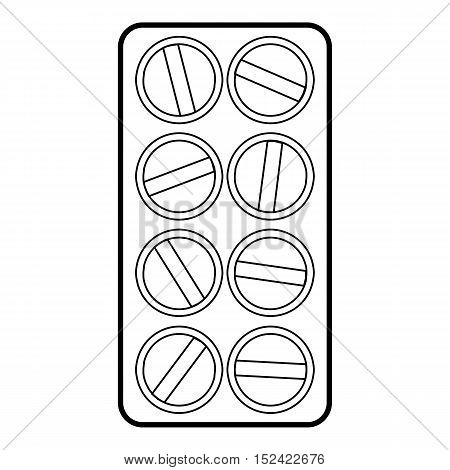 Packaging of round tablets icon. Outline illustration of packaging of round tablets vector icon for web