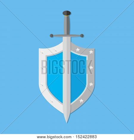 Shield and sword in flat design. Shield and sword icon on blue background. Vector illustration.