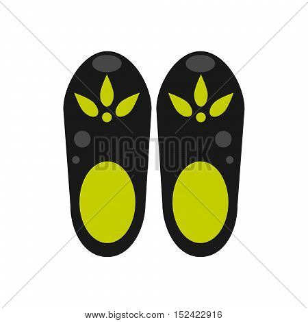Clog shoes vector illustration. Black and green rubber clog shoes.