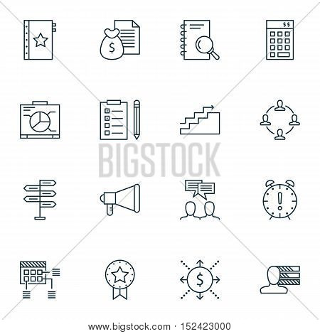 Set Of Project Management Icons On Discussion, Warranty And Investment Topics. Editable Vector Illus