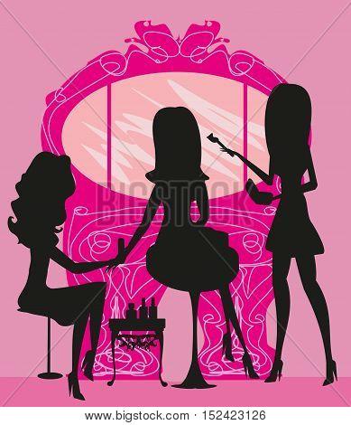 woman silhouette in beauty salon , vector illustration