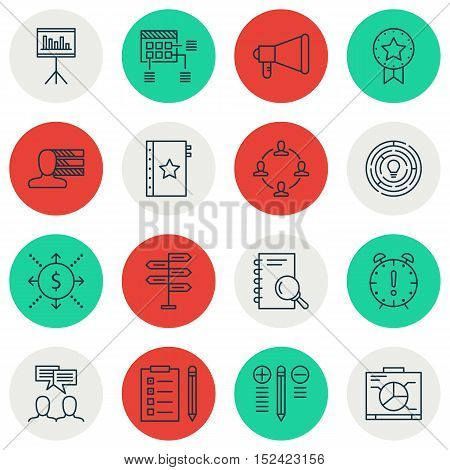 Set Of Project Management Icons On Collaboration, Reminder And Decision Making Topics. Editable Vect