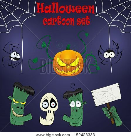 Halloween cartoon design elements with dead heads, spiders, cutted hand and pumpkin. Vector