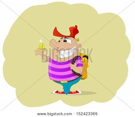 Fun cartoon boy with backpack stand and holding money. Guy suddenly found money. Lucky concept illustration. Vector