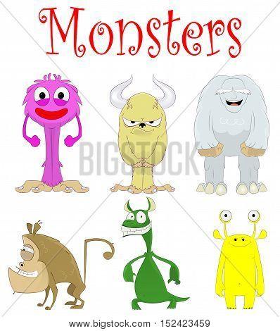 Set of fun cartoon monster creations. Vector illustration