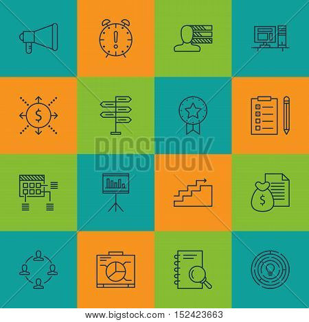 Set Of Project Management Icons On Report, Opportunity And Reminder Topics. Editable Vector Illustra
