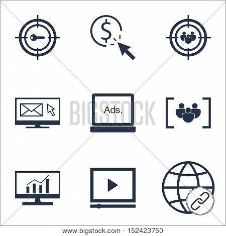 Set Of Marketing Icons On Focus Group, Ppc And Digital Media Topics. Editable Vector Illustration. I