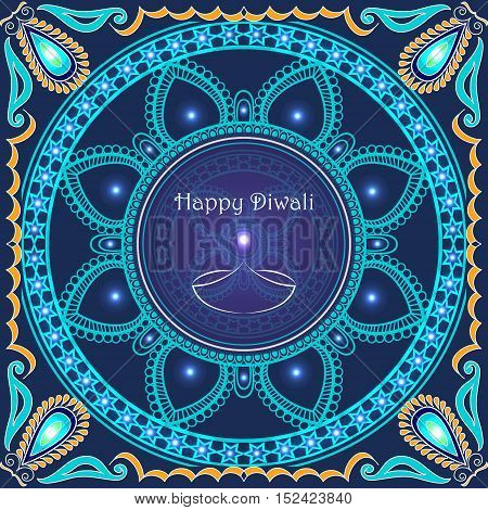 Vector greeting card to indian festival of lights. Happy Diwali. Congratulation's background with text and mandalas patterns