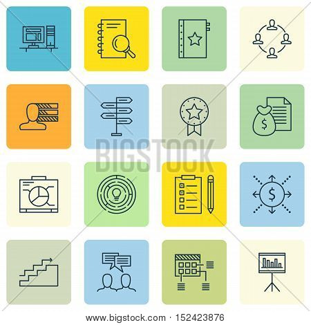 Set Of Project Management Icons On Personal Skills, Collaboration And Schedule Topics. Editable Vect