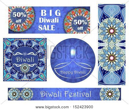 Vector set of banners to indian festival of lights. Happy Diwali. Greeting or invitation cards with text and mandalas patterns