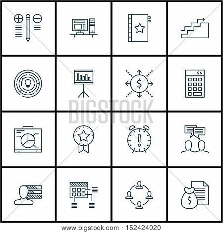 Set Of Project Management Icons On Computer, Money And Report Topics. Editable Vector Illustration.
