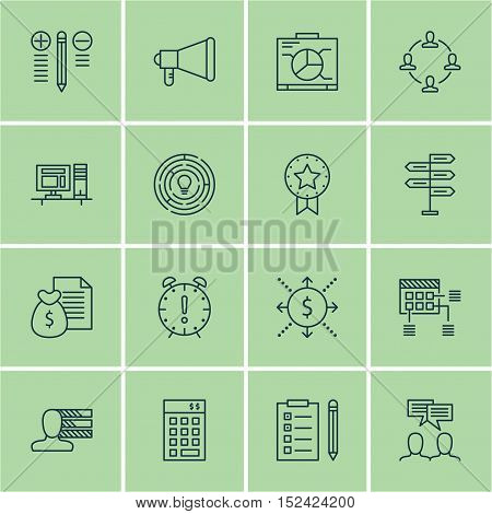 Set Of Project Management Icons On Decision Making, Personal Skills And Schedule Topics. Editable Ve