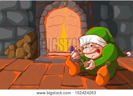 Colorful vector illustration of a cristmas elf building toys with a screwdriver infront of the warm fireplace.
