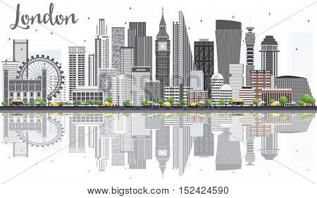 London Skyline with Gray Buildings, Blue Sky and Reflections Isolated on White Background. Business Travel and Tourism Concept. Image for Presentation Banner Placard and Web Site.