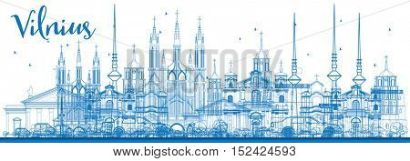 Outline Vilnius Skyline with Blue Landmarks. Vector Illustration. Business Travel and Tourism Concept with Historic Architecture. Image for Presentation Banner Placard and Web Site.