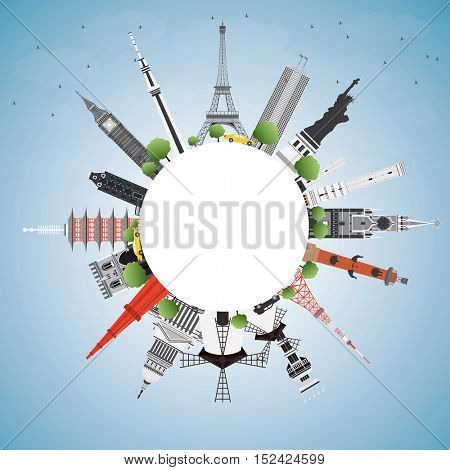 Travel Concept Around the World with Famous International Landmarks. Vector Illustration. Business and Tourism Concept with Copy Space. Image for Presentation, Placard, Banner or Web Site.