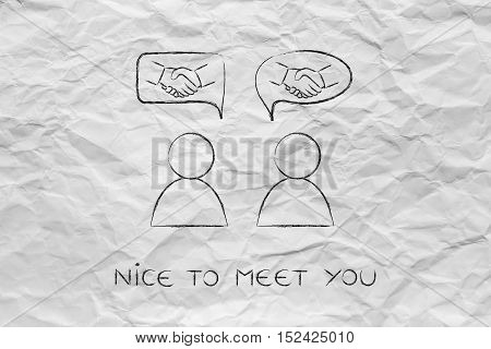 Meeting People & Agreeing: Men With Handshake Into Comic Bubbles