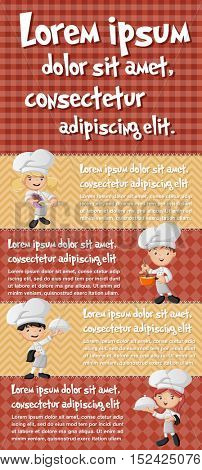 Vector brochure backgrounds with cartoon chefs cooking. Infographic template design.