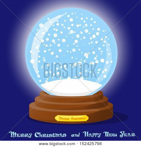 Cute glass Snow Globe with snowflakes on blue gradient background. Merry Christmas and Happy New Year souvenir. Cartoon style. Concept design poster banner flyer greeting card. Vector illustration