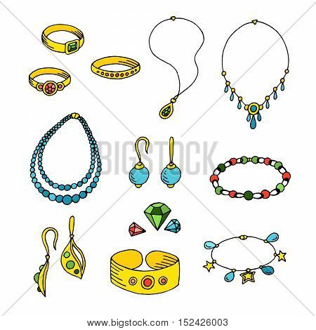 Jewel graphic art yellow gold blue green red color isolated sketch illustration vector