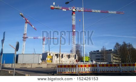 Three cranes in town. This is a big building site.