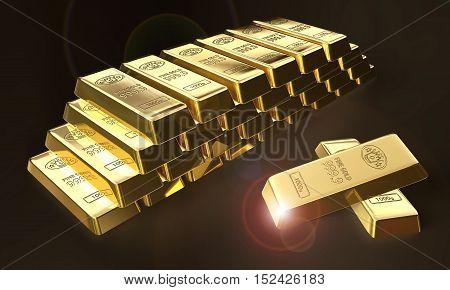 3d illustration of stacked bars of gold bullions