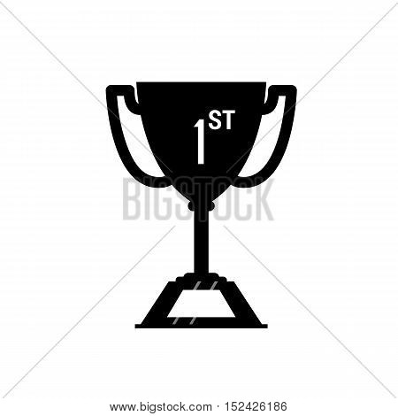 Winner Trophy Cup Icon. Sport Competition Silhouette Symbol. Vector Illustration.