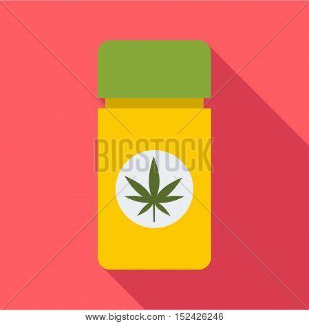 Jar pills marijuana icon. Flat illustration of jar pills marijuana vector icon for web