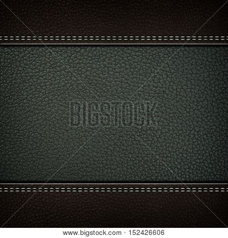 Texture of grey leather background with stitched seam, close-up. Texture for design.
