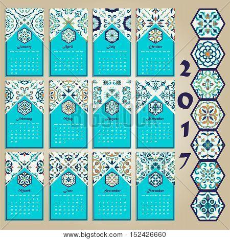 Vector calendar 2017. Portuguese Azulejo Moroccan; Spanish; Arabic; asian ornaments. Blue Geometric and floral motifs