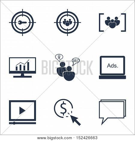 Set Of Advertising Icons On Digital Media, Questionnaire And Video Player Topics. Editable Vector Il