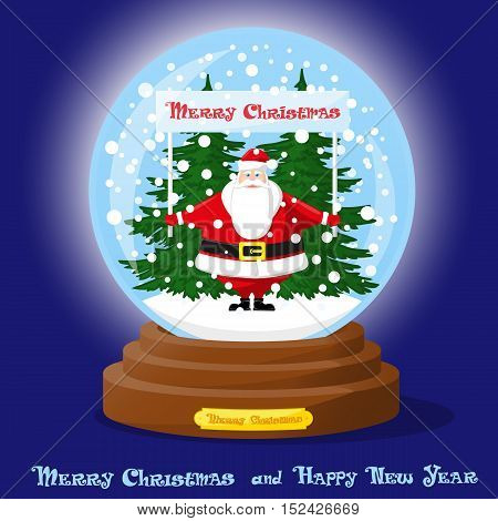 Cute glass Snow Globe. Snowflakes christmas tree and funny Santa Claus with banner. Merry Christmas and Happy New Year souvenir. Cartoon style. Concept poster banner flyer greeting card. Vector