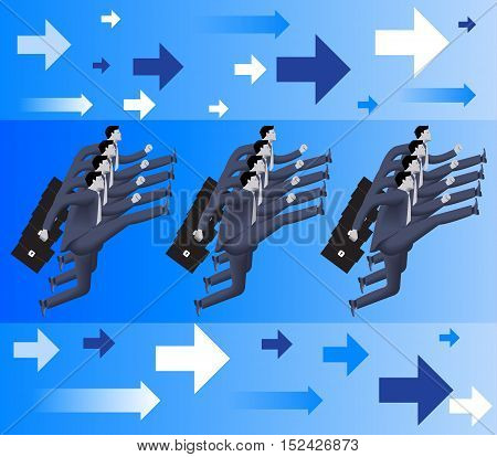 Corporate army business concept. Formation of confident businessmen in business suits with cases marching forward. Vector illustration. Use as template logo background.