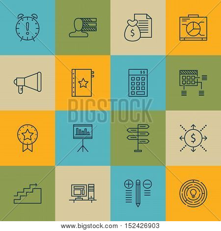 Set Of Project Management Icons On Warranty, Announcement And Present Badge Topics. Editable Vector