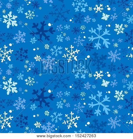 Winter seamless background with snowflakes, rasterized version