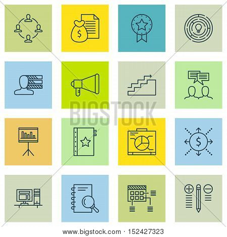 Set Of Project Management Icons On Discussion, Warranty And Announcement Topics. Editable Vector Ill