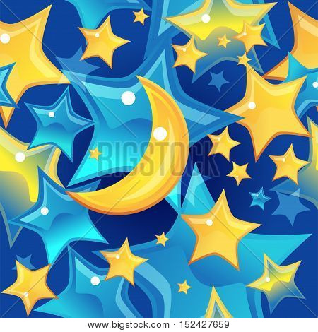 Seamless pattern stars and moon on blue background