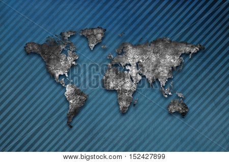 Blue map. World map