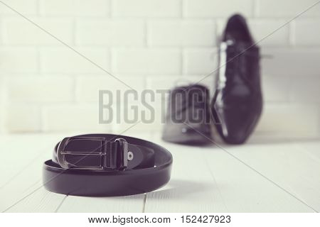 portrait of a set of stylish accessories for man