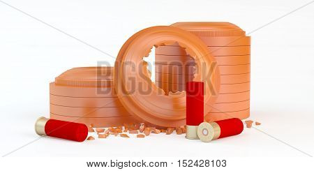3d composition of clay targets shooting with ammunition