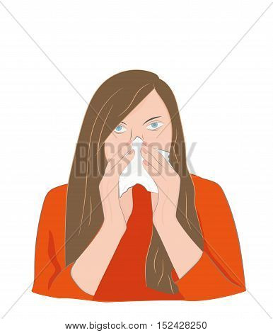 woman with a runny nose. Cover your nose with a handkerchief. cold. vector illustration.