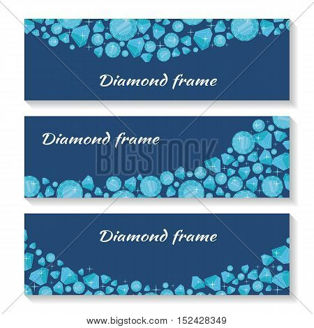 Diamond frame templates set. Jewelry diamonds of different size. Luxury jewels concept. Precious stones on dark blue background. For flyers, posters, greeting cards, banners. Vector illustration