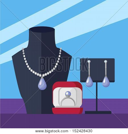 Jewelry store showcase vector concept. Flat Design. Necklace on mannequin bust, earrings on the stand, ring in box. Luxury women s accessories. Romantic gift to a loved an anniversary