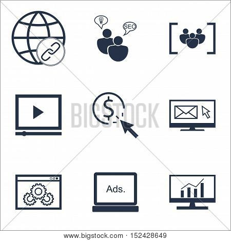 Set Of Marketing Icons On Video Player, Ppc And Questionnaire Topics. Editable Vector Illustration.
